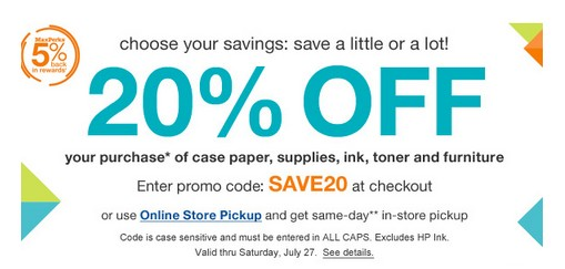 office max coupon  20  off your purchase   3  cash back