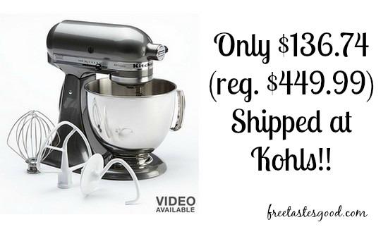 kohls kitchenaid artisan 5 qt stand mixer only reg free tastes good. Black Bedroom Furniture Sets. Home Design Ideas