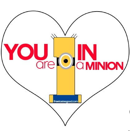 picture regarding Minion Logo Printable identified as Valentines Minions Get together Snacks and Printable No cost Choices