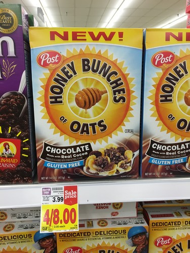 kroger post honey bunches of oats chocolate cereal only 1 reg