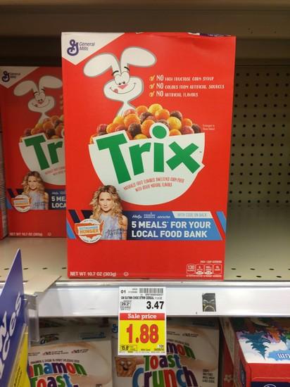 Kroger Trix Cereal Only 0 38 Reg 3 47 Free Tastes Good