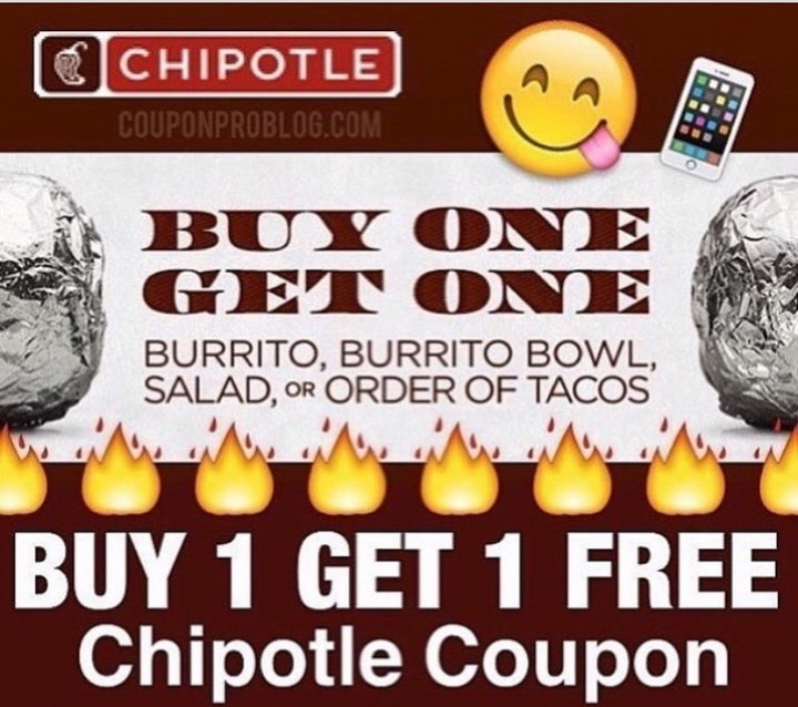 picture relating to Chipotle Printable Coupon identified as Incredibly hot** CHIPOTLE Get 1 Purchase 1 Totally free!! Totally free Choices Constructive!