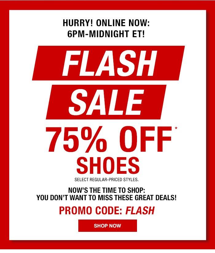 MACYS: Flash Sale - 75% off on Shoes