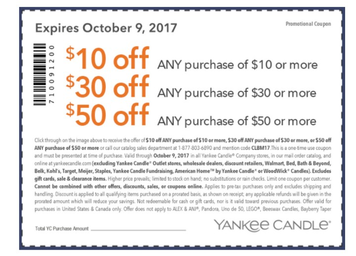 image relating to Yankee Candle Coupons Printable called YANKEE CANDLE: Totally free Merchandise with this $50 off $50 coupon