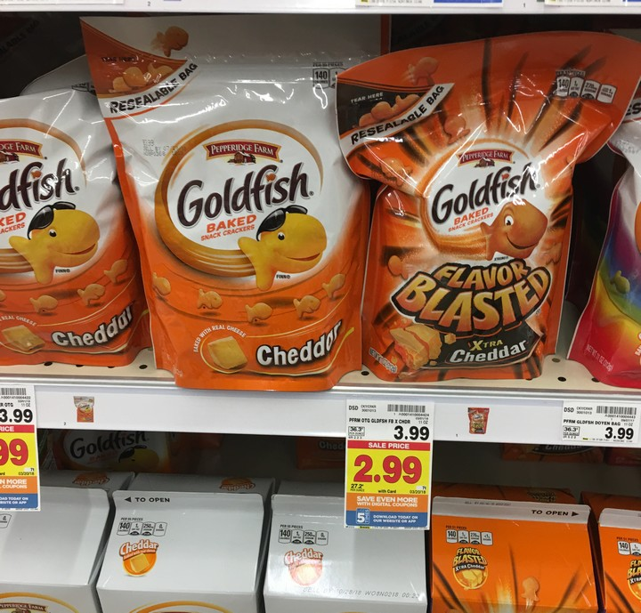 image about Goldfish Printable Coupons named KROGER: Goldfish Resealable Bag Basically $1.99 (reg. $3.99